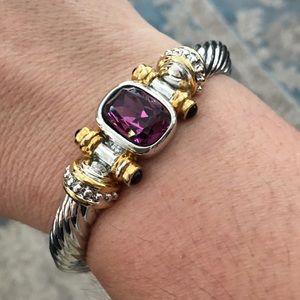 Silver amethyst twisted rope bracelet bangle